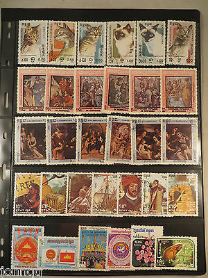 Cambodia Lot of 31 Topical Stamps: Cats, Raphael Paintings, Explorers, Misc