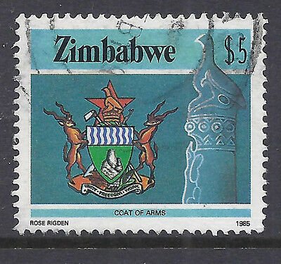 Zimbabwe Stamps  #514, $5 Coat of Arms Used SCV $7