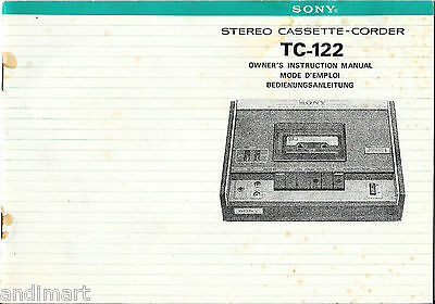 Original 21 Page Instruction Manual for SONY  TC-122 Stereo Cassette-Corder