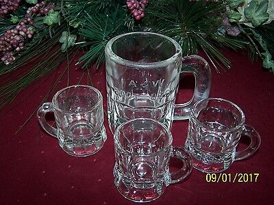 Vintage A & W Small Clear Glass Root Beer Mug & 3 Federal Glass Shot Mugs