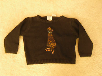 BABY GAP black, long sleeved cotton jumper with furry cat motif, age 6-12 months