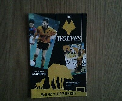 WOLVERHAMPTON WANDERERS v Leicester City PROGRAMME 1992