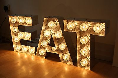 Light Up Fairground EAT Sign - Marquee Vintage Illuminated Festival Letters