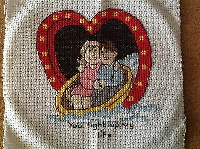 Completed cross stitch valentine love