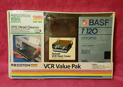 Recoton VCR Value Pak - Head Cleaner, Dust Cover, Video Cassette/Tape - NIP