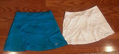 Ladies Nike Dri Fit Tennis Skirts Lot of 2 Size Med. Solid White & Solid Aqua