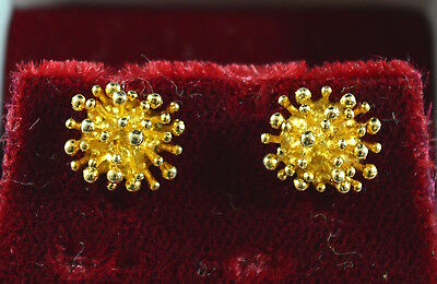 Vintage stunning solid 9 ct gold modernist stud earrings & gift box - 2.2 grams