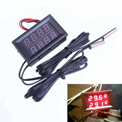 0.56 Inch Red Dual Digital Thermometer Waterproof Stable Temperature LED Display