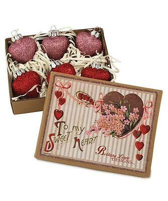 """Bethany Lowe Glittered Glass Heart Ornaments Christmas Valentine Red Pink 2"""""""