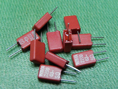 10x WIMA Capacitor MKS02 0.0022µF 63V Pitch = 2.5mm