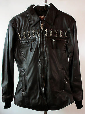 Womens Ladies Harley-Davidson Black Leather Motorcycle Jacket Chains Zip Small S