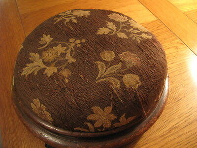 Antique Victorian Upholstered Footstool With Porcelain Feet