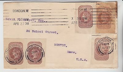 Gb Stamps 1908 Envelope To Usa With Victoria Stationery Cut Outs From Collection