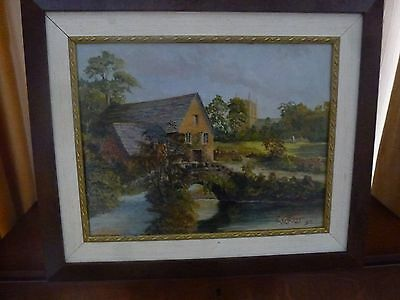 Original Oil Painting of a Riverside Country Cottage and Church Framed & Signed