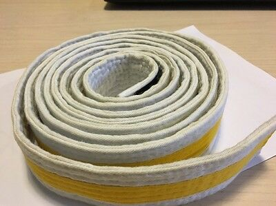 Martial Arts White/Yellow Striped Belt. 280Cm. M.A.R International