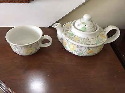The Toscany Collection TEA POT and CUP For One with Flowers Japan