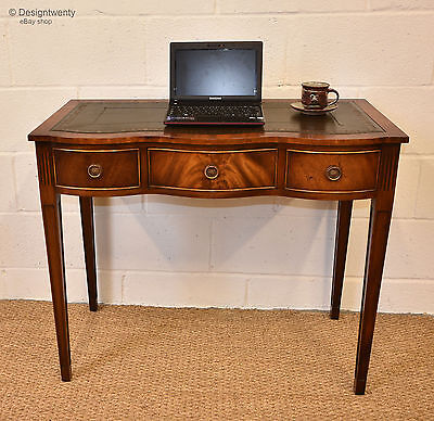 Small Mahogany Shaped Writing Desk Georgian Manner Leather Inset Hall Side Table