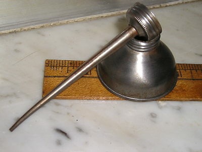 """Antique Small Detailed Vintage Thumb Hand Pump Oil Can 1 3/4"""" diam x 4 1/2"""" tall"""