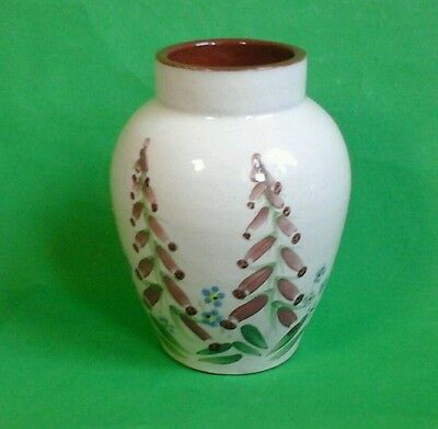 Sheldon Pottery, Clevedon Hand Painted Foxglove Earthenware Vase