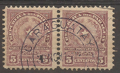 PARAGUAY. 5c PAIR WITH CARAGUATAY CANCEL. USED