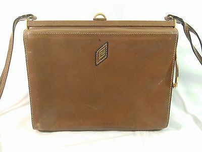 Vintage Vannucci Florence Italy Cognac Leather Brass Hinged Purse