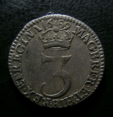 1689 WILLIAM & MARY BRITISH SILVER MAUNDY THREEPENCE  LMV over MVS