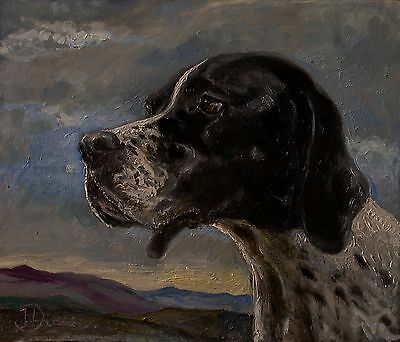 ORIGINAL OIL PAINTING of a POINTER DOG
