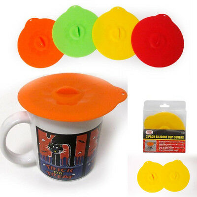 2 Pc Silicone Leakproof Cup Cover Coffee Tea Sealing Mug Wrapping Lid Tool Gift