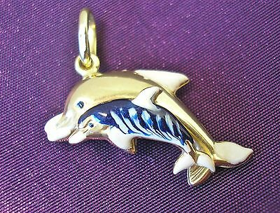 Beautiful 9ct Gold Mother & Baby Dolphin pendant with blue/white enamelling new