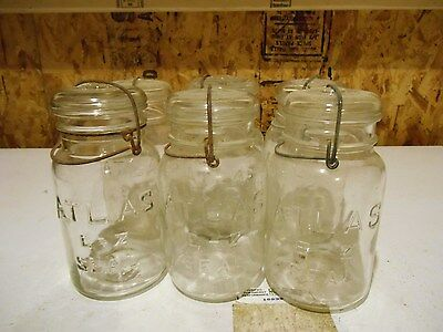 6 Antique glass hard to find Atlas quart  e -z seal glass canning jars,glass top