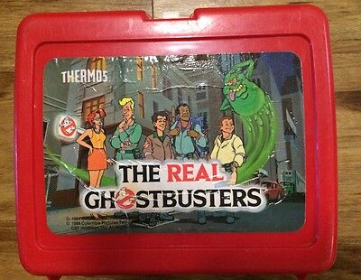 The Real Ghostbusters Red Plastic Lunch Box No Thermos 1984 1986 With Handle