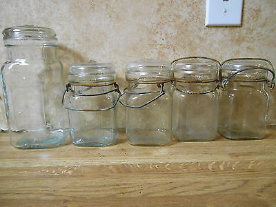 5 Antique glass hard to find Queen canning jars. 4 pints and one quart