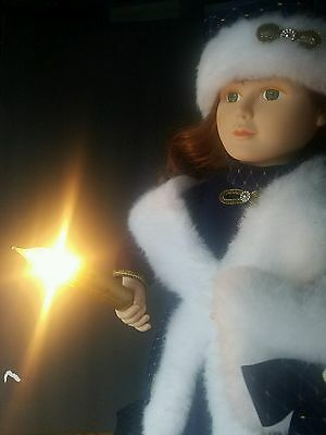 """Holiday Time 24"""" ANIMATED MOTION-ETTE CHRISTMAS CAROLER GIRL W/LIGHTED CANDLE"""