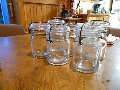 6 Antique glass hard to find clear pint glass canning jars,glass top.