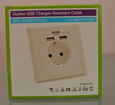 2 Way EU Mains Power Socket With USB Charging Ports Connection Wall Plate Plug