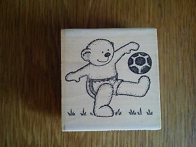 Card making wooden stamp - Teddy Bear with football 3 x 3 inch
