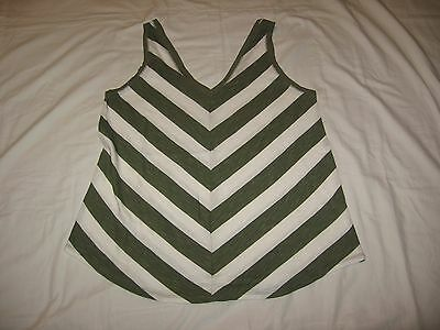 Maurices Women's Green White Striped Tank Top Blouse Shirt Size L