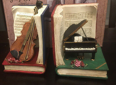 George Hardy Supply Co. Violin & Piano Bookends - Collectible -NEW