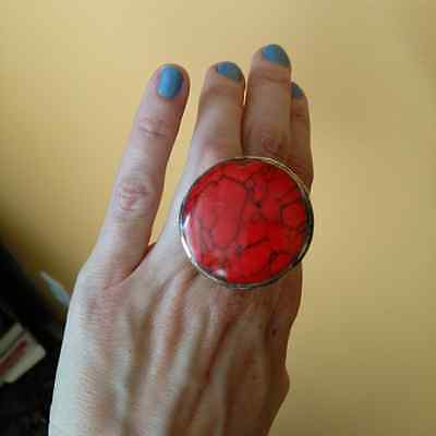 TALL Profile Unique Ring Embossed Motifs RED Center Kuchi Tribal Ring Size 8