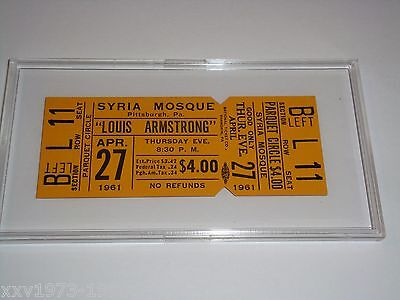 LOUIS ARMSTRONG 1961 UNUSED CONCERT TICKET SYRIA MOSQUE Pittsburgh PA JAZZ PARQU