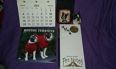 Treasure Trove of 5 Boston Terrier Trinkets! Calendars/Notepad/More!  FREE SHIP!