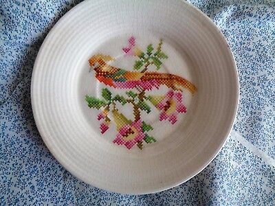 """Leigh Potters Leigh Ware Cross-Stitch Cockatoo Design  5 3/4"""" Coffee Saucer Only"""