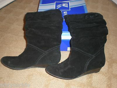 White Mountain Womens Bandit Black Suede Leather Wedge Heel Boots 7 M In Box