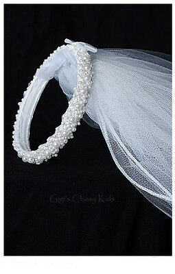 New Girls White Pearl Bun with Veil Headpiece First Communion Wedding Fancy 3