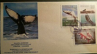 Colombia 1991 Whales And Dolphins Fdc