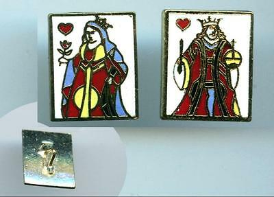 """Set KING QUEEN OF HEARTS Cloisonne Enamel rectangle shape 7/8"""" sewing buttons"""