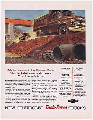 1955 Chevrolet Dump Truck Great Vintage Illustrated Task Force Trucking Print Ad