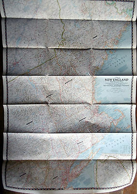 1955 National Geographic NEW ENGLAND Map, Massachusetts Connecticut