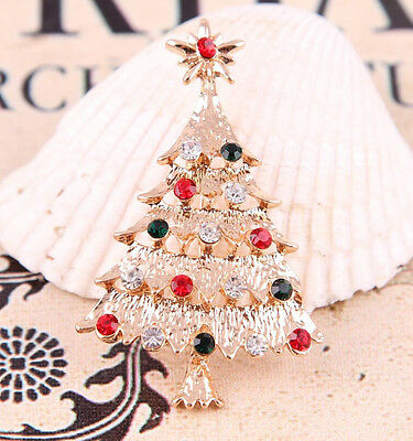 Xmas Tree Colorful Crystal Gold Plated Brooch Pin Jewelry Christmas Gift Beauty
