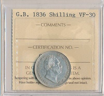 1836 ICCS VF-30 Great Britain Silver Shilling Coin; England